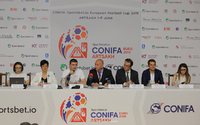 "Grigory Martirosyan partook at the press conference of the ""ConIFA Sportsbet.io Europe's football championship"