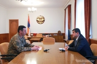 President Arayik Harutyunyan received Artsakh Republic acting defense minister, commander of the Defense Army Jalal Harutyunyan