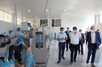 """The President of the Republic visited the newly-opened drinking water bottling plant and the """"Triumph Group"""" LLC engaged in the production of canned food"""