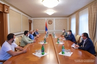"President Arayik Harutyunyan received the delegation led by chairman of the Board of Trustees of ""Tovmasyan"" Charitable Foundation Artak Tovmasyan"