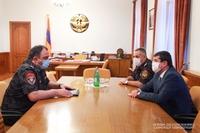 Artsakh Republic President Arayik Harutyunyan received Head of the Police of the Republic of Armenia Vahe Ghazaryan