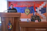 Президент Араик Арутюнян представил личному составу Министерства внутренних дел министра Карена Саркисяна